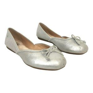 UGG Lena Flat In Silver Leather